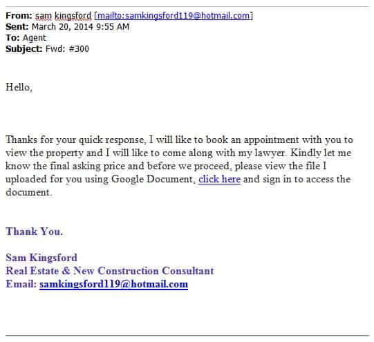 Phishing email targeting real estate agents